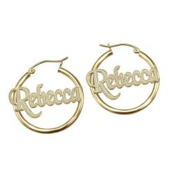 Alison and Ivy Crosshatch Hoop Earrings 25mm