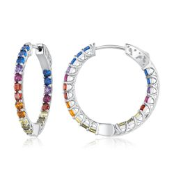 Cubic Zirconia Rainbow Inside-Out Hoop Earrings