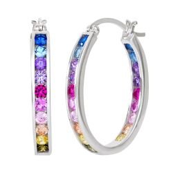 Cubic Zirconia Rainbow Oval Inside-Out Hoop Earrings