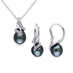 Cultured Black Tahitian Pearl and Diamond Swirl Pendant and Earrings Gift Set 1/10ctw