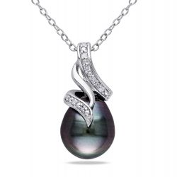 Cultured Black Tahitian Pearl and Diamond Twist Sterling Silver Pendant 1/20ctw