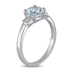 Cushion Aquamarine and Diamond Accent Sterling Silver Ring 1/20ctw