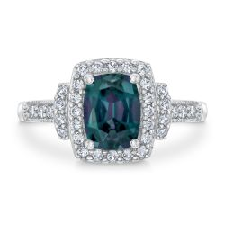 Cushion Created Alexandrite and Created White Sapphire Ring