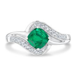 Cushion Created Emerald and Created White Sapphire Sterling Silver Ring