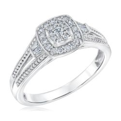 Cushion Shape Diamond Cluster True Promise Ring 1/4ctw
