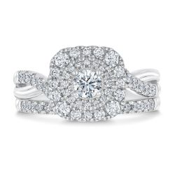 Ellaura Timeless Cushion Shape Round Diamond Halo Engagement and Wedding Ring Bridal Set 1ctw