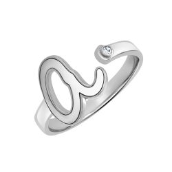 Alison and Ivy Diamond Accent Lowercase Single Initial Ring 10mm