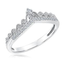 Diamond Tiara Sterling Silver Ring 1/10ctw