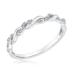Diamond Twist White Gold Stackable Ring 1/15ctw
