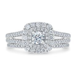 Ellaura Timeless Double Cushion Halo Diamond Engagement and Wedding Ring Bridal Set 1ctw