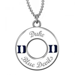 Duke White Enamel Circle Pendant