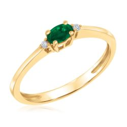 East-West Oval Emerald and Diamond Accent Ring