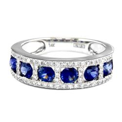Effy Blue Sapphire and Diamond Band Ring 1/4ctw