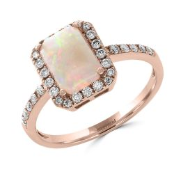 Effy Rose Gold Genuine Opal and Diamond Halo Ring 1/4ctw