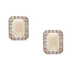 Effy Rose Gold Genuine Opal and Diamond Stud Earrings 1/4ctw