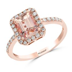 Effy Rose Gold Morganite and Diamond Halo Ring 1/4ctw