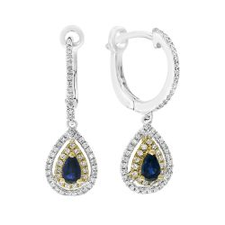 Effy Two-Tone Blue Sapphire and Diamond Drop Earrings 1/3ctw