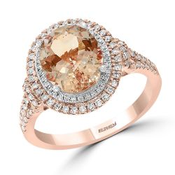 Effy Two-Tone Morganite and Diamond Double Halo Ring 3/8ctw