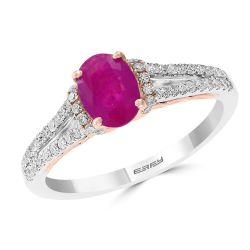 Effy Two-Tone Ruby and Diamond Ring 1/4ctw