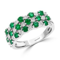 Effy White Gold Emerald and Diamond Ring 1/20ctw