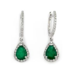 Effy White Gold Emerald and Diamond Drop Earrings 1/4ctw