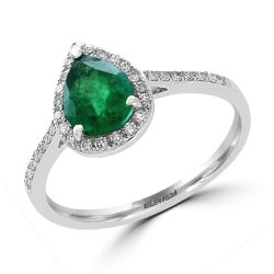 Effy White Gold Emerald and Diamond Ring 1/6ctw