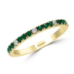 Effy Yellow Gold Emerald and Diamond Stackable Ring 1/10ctw