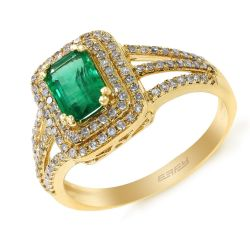 Effy Yellow Gold Emerald and Diamond Halo Ring 3/8ctw