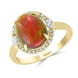 Effy Oval Opal and Diamond Yellow Gold Ring 1/4ctw
