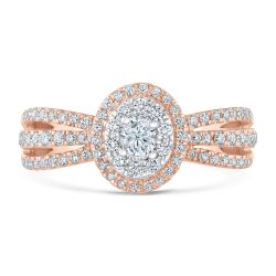 Ellaura Blush Oval Diamond Double Halo Rose Gold Engagement Ring 3/4ctw