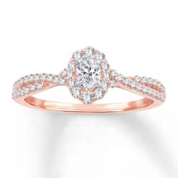 Ellaura Blush Oval Diamond Halo Engagement Ring 1/2ctw
