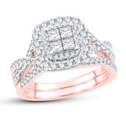Ellaura Blush Princess Cluster Double Halo Diamond Engagement and Wedding Ring Bridal Set 1ctw