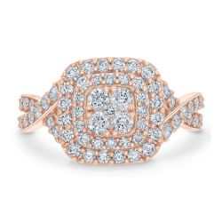 Ellaura Blush REEDS Exclusive Diamond Cluster Engagement Ring 1ctw