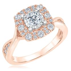 Ellaura Blush Round Miracle Plated Diamond Rose Gold Engagement Ring 1ctw