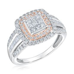 Ellaura Blush Two-Tone Diamond Cluster Double Halo Engagement Ring 1ctw
