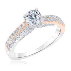 Ellaura Blush Two-Tone Double Row Diamond Engagement Ring 1 1/4ctw