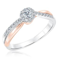 Ellaura Blush Two-Tone Rose and White Gold Diamond Engagement Ring 1/3ctw