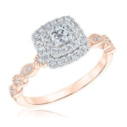 Ellaura Blush Two-Tone Round Diamond Double Halo Engagement Ring  1/2ctw