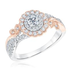 Ellaura Blush Two-Tone Vintage-Inspired Double Halo Diamond Engagement Ring 3/4ctw