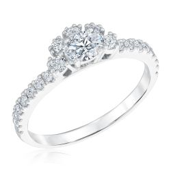 Ellaura Couture East-West Oval Diamond Engagement Ring 3/4ctw
