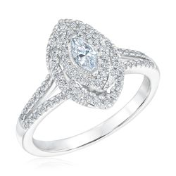 Ellaura Couture Marquise Diamond Double Halo Engagement Ring 1/2ctw