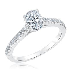 Ellaura Couture Oval Diamond Engagement Ring 1ctw