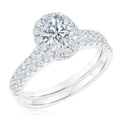 Ellaura Couture Oval Diamond Halo Engagement and Wedding Ring Bridal Set 1 5/8ctw