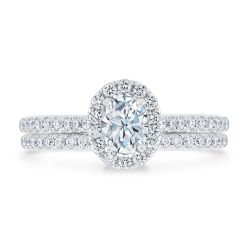 Ellaura Couture Oval Diamond Halo Engagement and Wedding Ring Bridal Set 1ctw