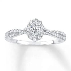 Ellaura Couture Oval Diamond Halo Engagement Ring 1/2ctw