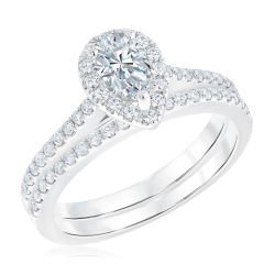 Ellaura Couture Pear Diamond Halo Engagement and Wedding Ring Bridal Set 1ctw