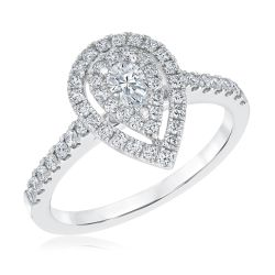 Ellaura Couture Pear Shaped Double Halo Diamond Engagement Ring 5/8ctw