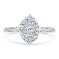 Ellaura Couture Marquise Diamond Halo White Gold Engagement Ring 5/8ctw