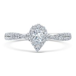 Ellaura Couture Pear Diamond Halo White Gold Engagement Ring 1/2ctw