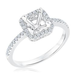 Ellaura Design Diamond Square Halo Semi-Mount Engagement Ring 1/3ctw
